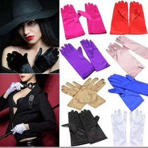 Wrist Gloves Smooth Satin Party Dress Prom Evening